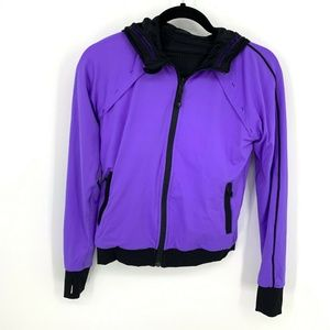 Ivivva Girls Black Purple Reversible Hooded Jacket